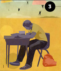Illustration of an African American student sitting at a school desk, while African American figures are parachuting down in the background.