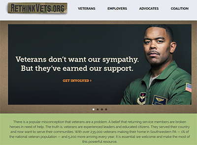 "Black man in military clothes featured on the RethinkVets website.  Next to him are the words, ""Veterans don't want our sympathy. They they've earned our support."""
