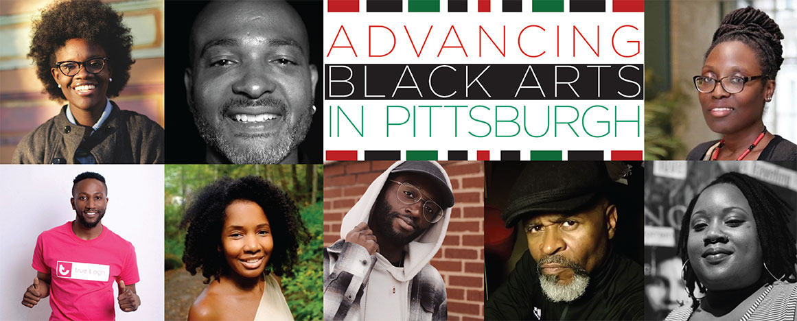 Collage of previous awardees of the Advancing Black Arts in Pittsburgh Program, with the name of the program in the middle of the collage.