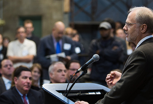 Endowments President Grant Oliphant speaks to crowd at the Project RE dedication. Photo by Joshua Franzos