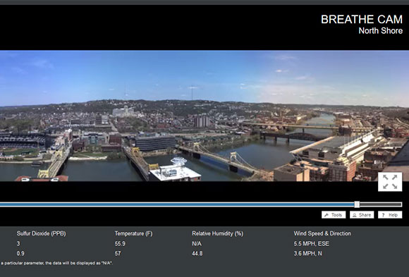 Learn more about the air you breathe by viewing Breathe Cam's high-resolution panoramas of the Pittsburgh region. This image shows the view of the North Shore, one of the four cameras available on BreatheProject.org.