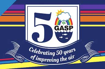 "GASP's 50th anniversary logo, with the words, ""Celebrating 50 years of improving the air."""