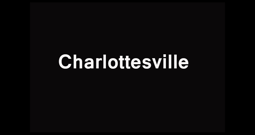 "The word, ""Charlottesville"" in white letters on a black background."