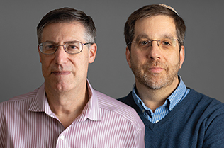 head shot of Brian Schreiber and Rabbi Ron Symons
