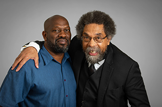 Image of Dr. Cornel West with his arm around the shoulders of Bakari Kitwana